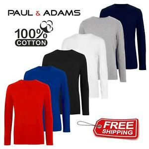 Mens Plain 100% Cotton Full/Long SleeveT-Shirts Tee Shirt Size S-3XL 160gsm Lot