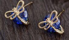 Gold Blue Dragonfly Stud Luxury Fashion Earring Boho Festival Party Boutique Uk