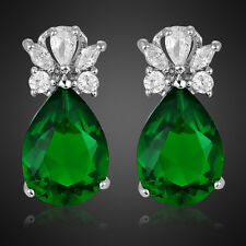 Xmas Gift Fashion Lady Green Emerald Pear 18K White Gold Plated Gp Stud Earring