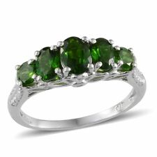 Russian CHROME DIOPSIDE 5 Stone RING in Platinum / Sterling Silver 2.25 Cts.
