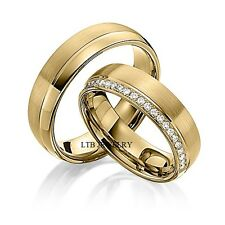 DIAMOND MATCHING WEDDING RINGS,10K YELLOW GOLD HIS & HERS DIAMOND WEDDING BANDS