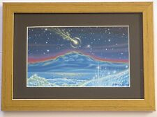 LARRY ORTIZ ILLUSTRATION PAINTING SPACE EARTH METEOR SHOOTING FALLING STAR NIGHT
