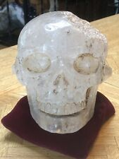 Central America Quartz Skull with Aztec Characters on skull, 15.4lbs.