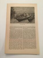 T20) Makah Tribe Fishing Camp Vancouver Indian Family c. 1884 Engraving