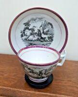 Georgian c1815 Bat Printed Lustre Cup & Saucer - Shepherd & Sheep