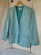 Haberdashery Leslie Fay Jacket Womens Blazer Green & White Plaid Lined 16 W