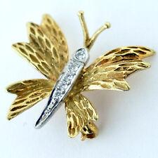 TIFFANY & CO. 18K YELLOW GOLD DIAMOND BUTTERFLY VINTAGE PIN BROCHE