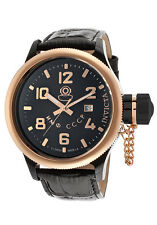 Invicta 12724 Russian Diver Black Leather Rose Gold Tone Swiss Made 52mm Watch