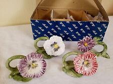 Set of 4 Sweet Pansy Parade Napkin Holders Fitz & Floyd 68/191 w Original Box