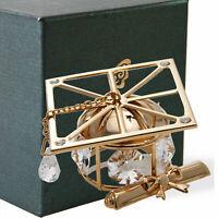 Matashi 24K Gold Plated Graduation Cap with Diploma & Crystal Gifting Ornament