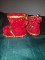 2 Vintage Red Flocked Velvet Christmas Ornaments Boots with Rose's Gold trim