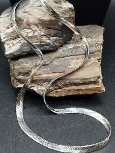 Vintage Sterling Silver Herringbone Chain Necklace Fine Italy 925 Men's Women's