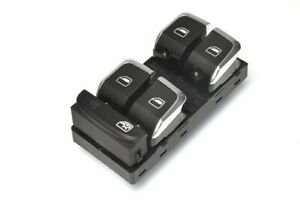 For Audi Q5 A4 S4 A5 S5 Electric Front Window Switch Button Aluminium Look