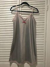 LA LINGERIE White/Black Lace Stretch Stripe Nightgown sz.M