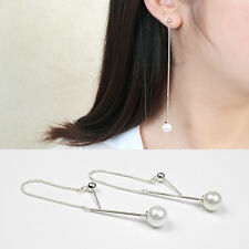 95 mm Lange Ohrstecker Perlen Kugel echt Sterling Silber 925 Ohrringe Ohrhänger