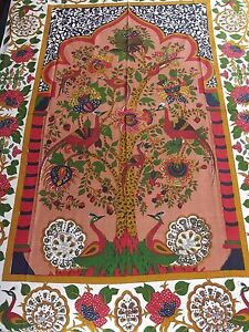 Cotton Tree of Life Floral Tapestry Peacock Tablecloth Rectangular Red 85x60