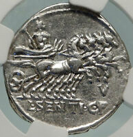 Roman Republic Ancient 101BC Rome JUPITER CHARIOT Silver Coin NGC i84935