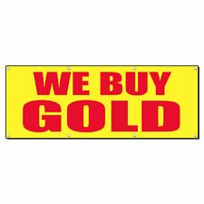 WE BUY GOLD Promotion Business Sign Banner 4' x 2' w/ 4 Grommets