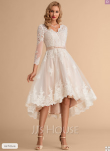 Women A-Line V-neck Asymmetrical Satin Tulle Lace Wedding Dress UK16