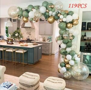 119pcs Balloons+Balloon Garland Arch Kit Set Birthday Wedding Party Decor Green