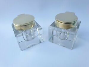 """PAIR GOOD QUALITY HEAVY BRASS SOLID GLASS INKWELL INK BOTTLES 1  11/16"""" SQUARE"""