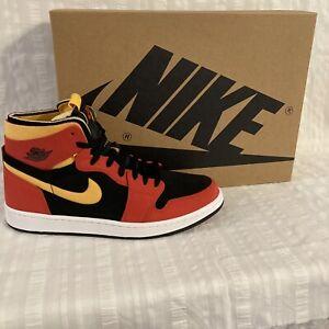 Nike Air Jordan 1 High Zoom Cmft Shoes CT0978 006 Black Chile Red Yellow Sz 10