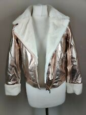 ARIZONA Women's Jacket Metallic Rose Faux Fur Fitted Blogger Casual Party 10/12