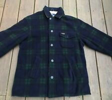 Polo Ralph Lauren Blue/Green Plaid Fleece Jacket Men's M Leather Tag Lined USA