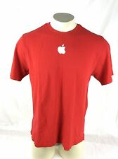 Apple Computer Embroidered Logo Red T Shirt Cotton Mens Large 42 Chest