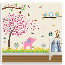 Owl Animal Wall Stickers Jungle Zoo Monkey Lion Nursery Baby Kids Room Decal Art