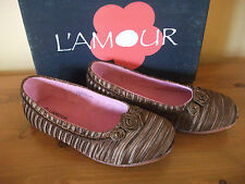 GIRLS L'amour 418 Brown Satin Slip On Ballerine shoe UK 12 EUR 31 New!
