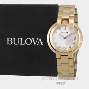 Authentic Bulova Women's Stainless Steel Rubaiyat Gold Tone Watch 97P125
