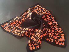 LOUIS VUITTON Sprouse Graffiti Cotton Scarf Black and Orange