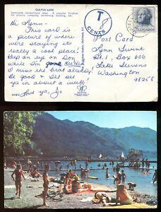 LINDELL BEACH BC 1960s CDS on Cultus Lake Postcard. US Postage Used TAXED (p2056