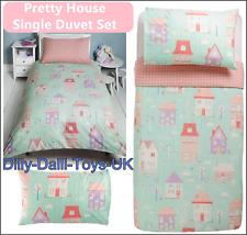 Pretty House Single Duvet Cover Bed Set Girls 50% Cotton Pastel Pink Mint Purple