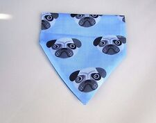 Pale Blue Pug Print Fabric Dog Bandanna Slide your collar through top Size S