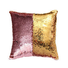 Pink Golden DIY Reversible Sequin Cushion Cover Pillow Case Home Sofa Decoration