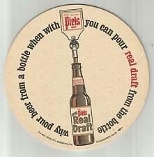 "1960's Piel's Beer Coaster-Piel Bros.Of Brooklyn NY  7"" ""Real Draft"
