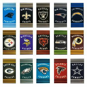 """NEW Stripes Football Beach Towel Officially Licensed 30"""" x 60"""" - Pick Your Team"""