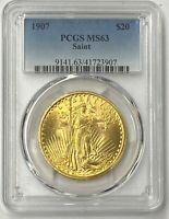 1907-P $20 Saint Gaudens Gold Double Eagle Pre-33 PCGS MS63 Amazing 1st Year