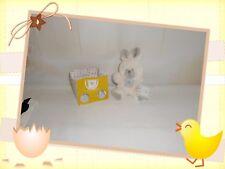 ♥ - Doudou Peluche Lapin Blanc Gris Sac Kdo Oh Studio ! Doudou et Compagnie