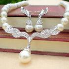 Wedding Rhinestone Jewelry Pearl Crystal Earrings Bridal Set Necklace Women