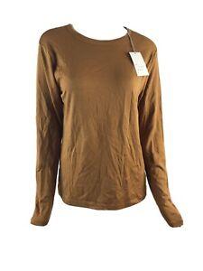 A New Day Womens Size XL Long Sleeve Rust Tee T-Shirt Cotton Blend