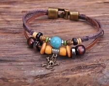G140 Bronze Surfer Hemp Leather Wood Beads Wristband Bracelet Cuff Skull Charm