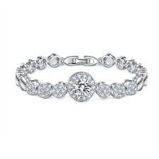 Classical Round Cut Shiny Natural White Topaz Platinum Plated Charming Bracelets