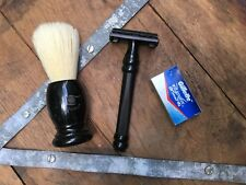 NEW Pearl Twist to Open Safety Razor and Boar Hair Shaving Brush Set Kit Black