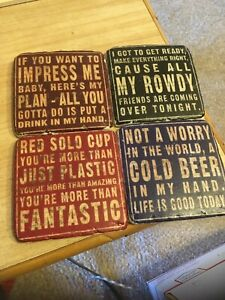 Funny Tile Coaster: Set of 4 Assorted to protect your furniture from you