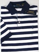 Polo Ralph Lauren Navy Blue Striped Short Sleeve Shirt Classic Fit NWT NEW $79