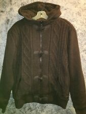 DENIMLAB brown cableknit sweater hoodie heavy sherpa lined warm toggles zipper