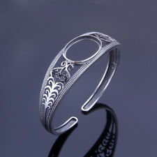 Sterling Silver Open Cuff Bangle Mount Bracelet Setting 15*20mm Oval Cab Stone